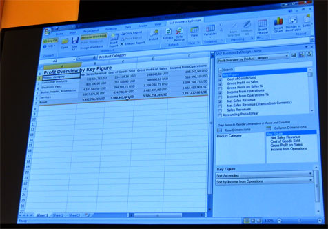 Users can create ad-hoc reports in Excel and then save it in ByDesign (photo: Voelkel)