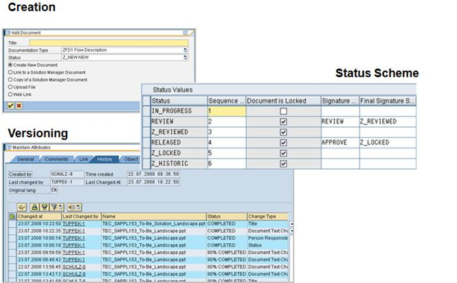 SAP SOLMAN Document Management Screens