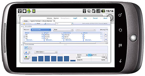 SAP BusinessObjects Explorer in the Android Browser (graphic: Timo Elliott)