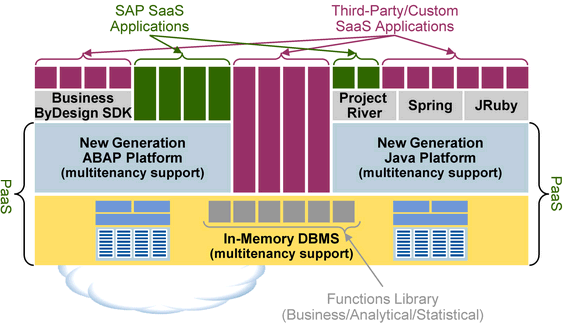 Diagram: SAP PaaS based on In-Memory DBMS